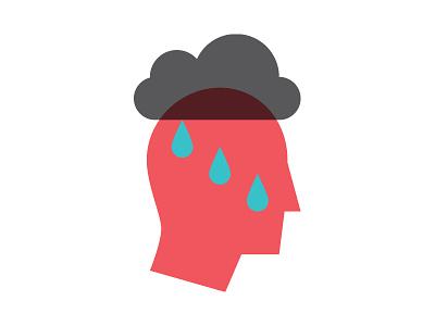 Under The Weather vector wordplay head weather illustration