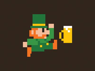 Super Beer Run beer video game irish st patricks day pixel art retro nintendno nes mario mario bros