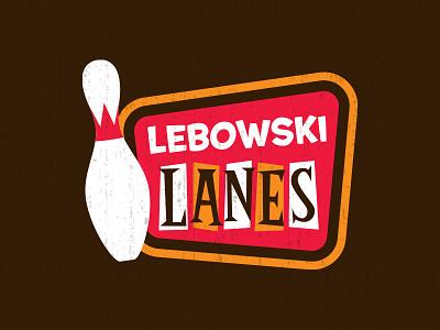 Lebowski Lanes lunchboxbrain vintage lettering illustration retro pop culture bowling