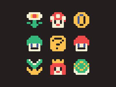 Icons of the Kingdom nintendo gamer game art vector icon design icon set icons 8 bit mario bros