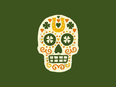 Lucky Old Soul lunchboxbrain skull art vintage illustration irish st patricks day skull sugar skull