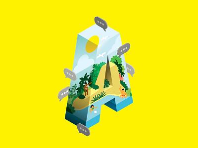 A social media paradise island sea sun lettering type isometric