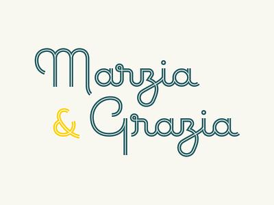 Marzia & Grazia monoline deli logotype calligraphy cursive inline logo typography lettering italy vintage pasta