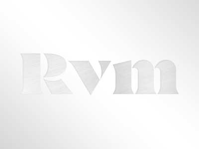 RVM logo custom contrast lettering sharp serif photography black stencil typography type