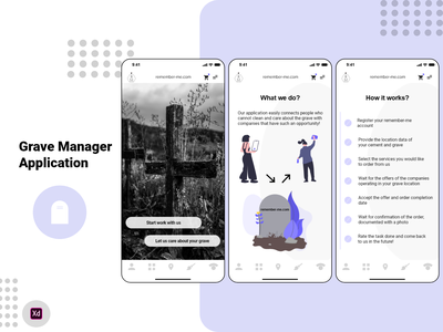 Grave Manager Application grave manager grave cemetery monument application mobile app mobile product design ui ux clean design ubereats