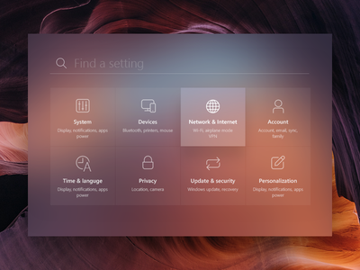 Windows Settings search card menu design fluent windows blur setting microsotf