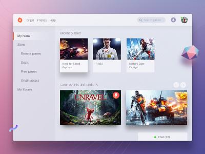 Origin Redesign app web video desktop ui white redesign dashboard ea game origin
