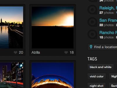 Photo grid black teal thumbnails tags pill gothic