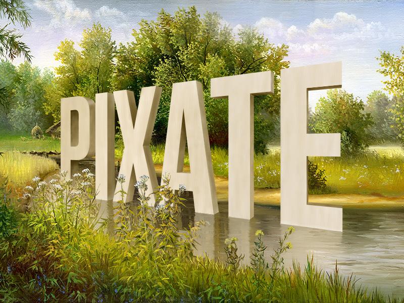 Pixate à la Wayne White 3d text landscape painting art lake wayne white