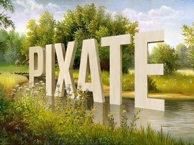 Pixate à la Wayne White 3d text landscape painting art lake wayne white
