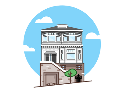 House on a hill illustration home house sf san francisco