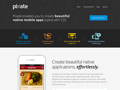 Pixate Landing Page landing website flat vector color iphone illustration pixate