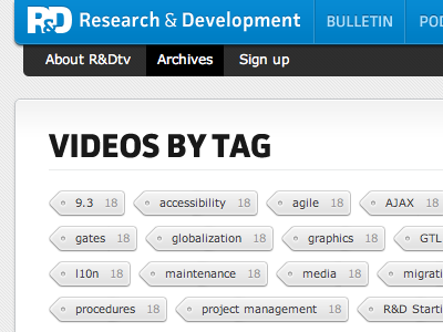 Archive page tags tags navigation blue gray white internal site
