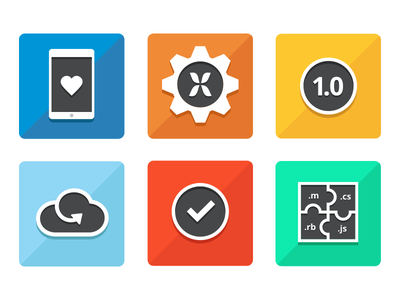 Feature Icons icon features flat colorful gear heart puzzle cloud check