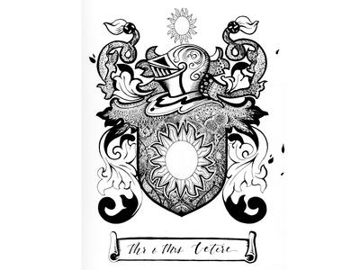 Family Crest - Black and White Illustration