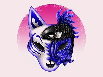 Kitsune and koi fish mask folklore fox noise blue black digitalart illustration sushi restaurant koifish kitsune japanese mask