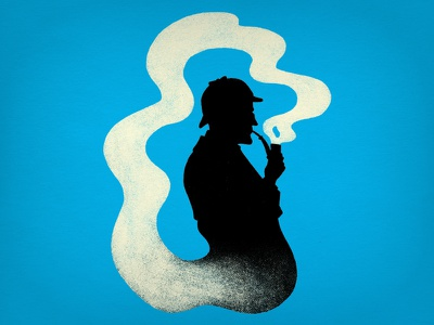 Elementary Thought illustration silhouette smoke sherlock holmes t-shirt