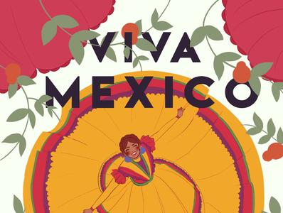 VIVA MEXICO - Flor flowers bailar dance folklorico poster typogaphy diversity women mexico illustration flat design