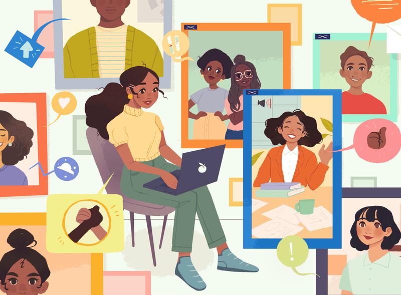 National Association of Hispanic Journalism - Virtual Conference lifestyle editorial computer latinx hispanic women diversity illustration flat design
