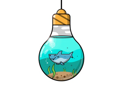 the trapped shark creative art sea lighting icon victor art ui ux nature illustration shark illustrator flat desig