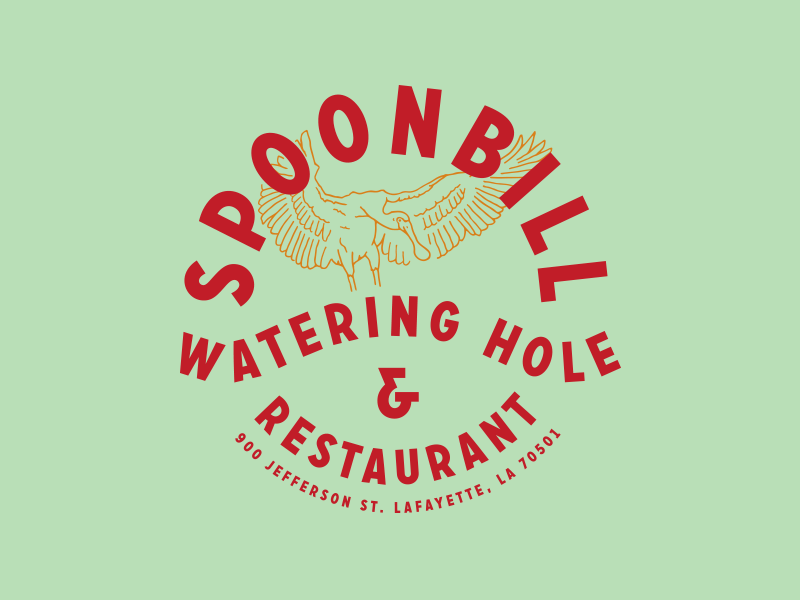 watering hole wings bird restaurant typography identity illustration branding logo