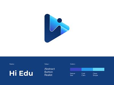 Hi Edu - Digital Logo Tech minimal animation web app logo gradient branding typography background logotype logo modern 3d logo