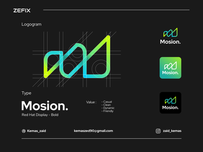 Mosion presentation drawing background product work set element template branding creative vector company concept badge label graphic identity brand design business logo