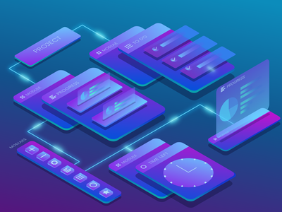 Project management app isometric illustration