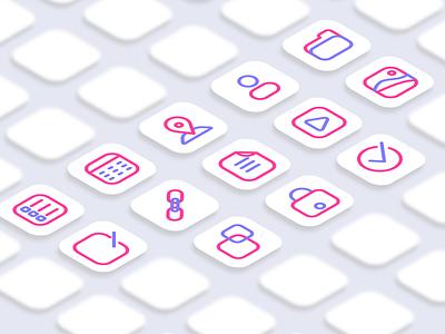 Vision App landing page icon set project app background flat design web icon design icon set icon ui minimal vector