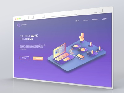 Work from home landing page 3d mockup background vector ui isometric isometric illustration 3d illustration web
