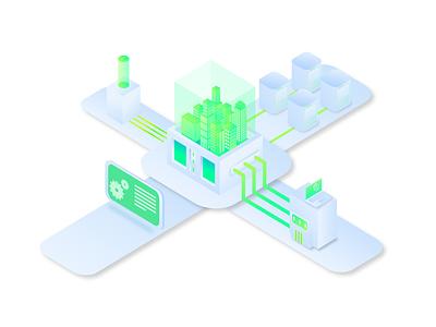 Smart City Control Isometric Design isometric isometric illustration minimal vector web ux design illustration