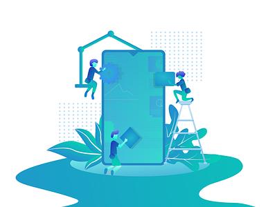 Mobile App Builder Illustration app web vector minimal design
