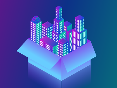 City In a Box Isometric Illustration