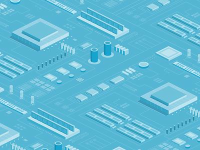 Isometric Electronics Board Illustration illustrator blue background web design minimal design art isometric illustration isometric flat illustration vector