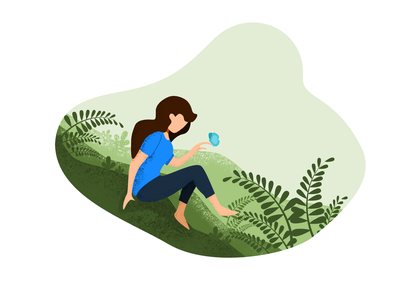 Alone with Nature background web flat design vector illustration
