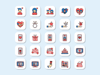 Love and Marriage Icon pack iconography icon design illustration design flat vector love icon icon set