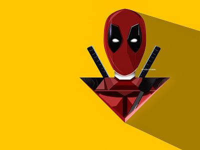 Deadpool Illustration poster vector flat colour minimalist minimal logo design logo inspiration illustration art illustration graphic designer graphic design design flat fanart comics design comic art challenge art 3d