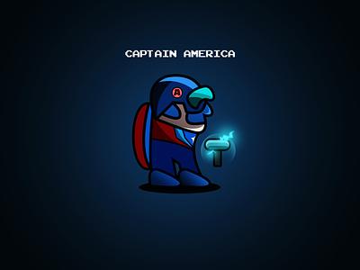 Captain marvelous designer marvel studios marvelcomics captain captainamerica amongus among us comical vector superhero logo comics illustration design