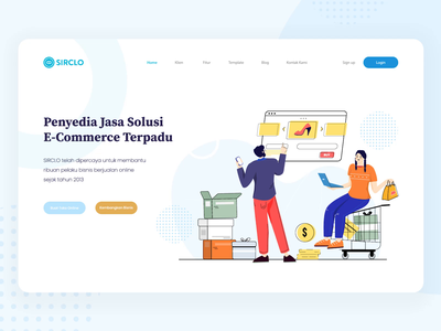 S I R C L O online store shop header design ecommerce design color branding illustration animation development web design e-commerce