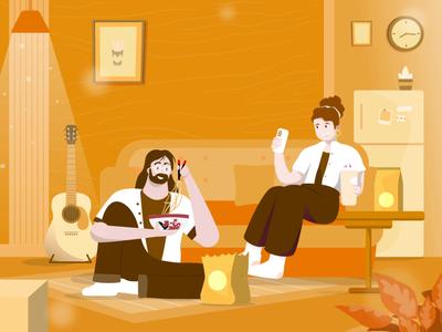 FOOD DELIVERY - Illustration animated website web design ux ui landing page illustration header flat design design food delivery courier branding booking app app animation