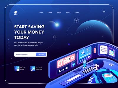 PNET.O - Fintech Header Animation gradient website branding header design illustration blue web design uidesign investment space banking save money finance fintech header animation