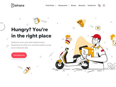 Daharo Landing Page - Food Delivery illustration food illustration line web design ui  ux pizza food and drink landing page food app food delivery service food