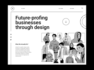 Design Team header illustration illustration ui design business vintage lineart line grayscale teamwork website design design team header
