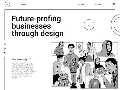 Design Team header illustration illustration ui design business vintage lineart line grayscale teamwork website design design team header