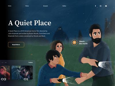 Q U I E T  -  Movie Header 🎥 illustrator vector website quiet procreate flat design ui web design illustration film movie header