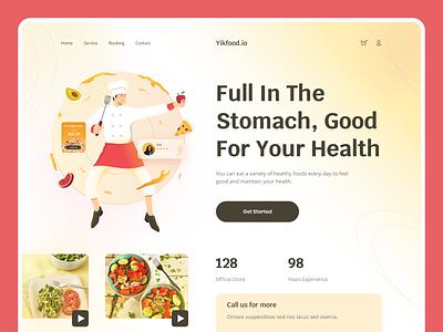 Yikfood.io - Healthy Food 🥗 ux vector flat design branding graphic design ui header ui ux landing page food and drink pizza web design illustration healthy food