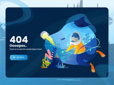 Power Down - 404 Error underwater animation ux web flat website design animation vector illustration ui 404 error page underwater