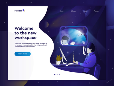 Work in space with maboer landing page and hero Animation