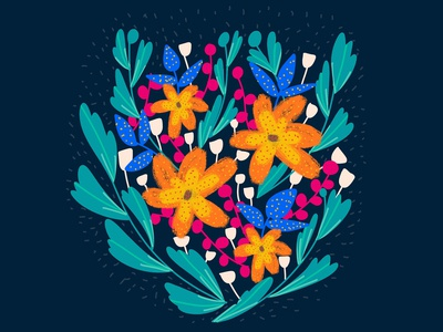 Easy Bright Floral Illustration in Procreate | iPad Art
