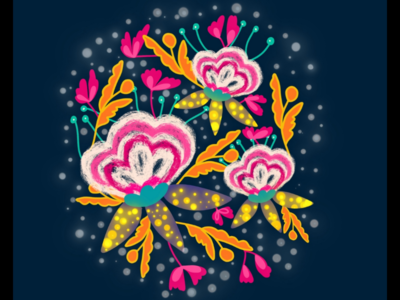 Easy Bright Floral illustration 2 in Procreate | iPad Pro